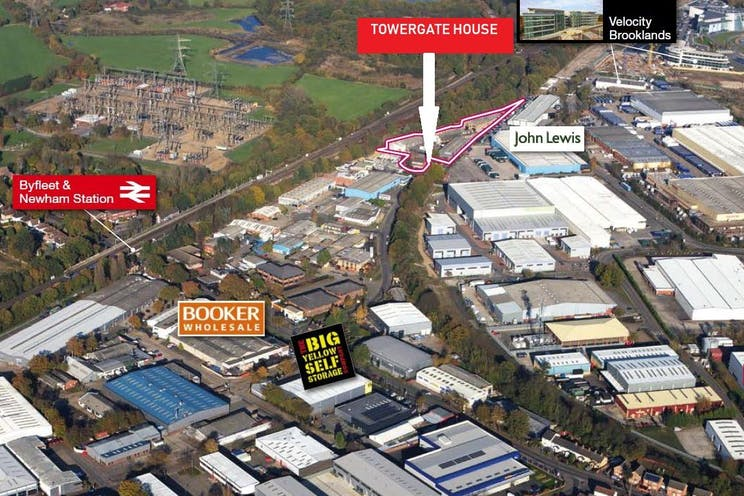 Towergate House, Cumberland Works, Wintersells Road, Byfleet, Offices To Let / For Sale - aerial map.JPG