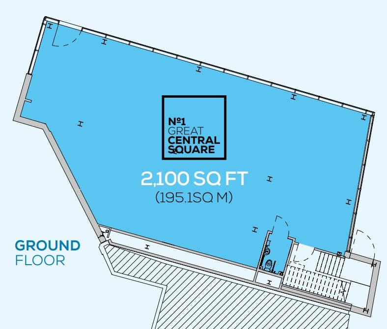 No1 Great Central Square Ground Floor, Medius House, Leicester, Office To Let - Ground Floor retail space layout.JPG