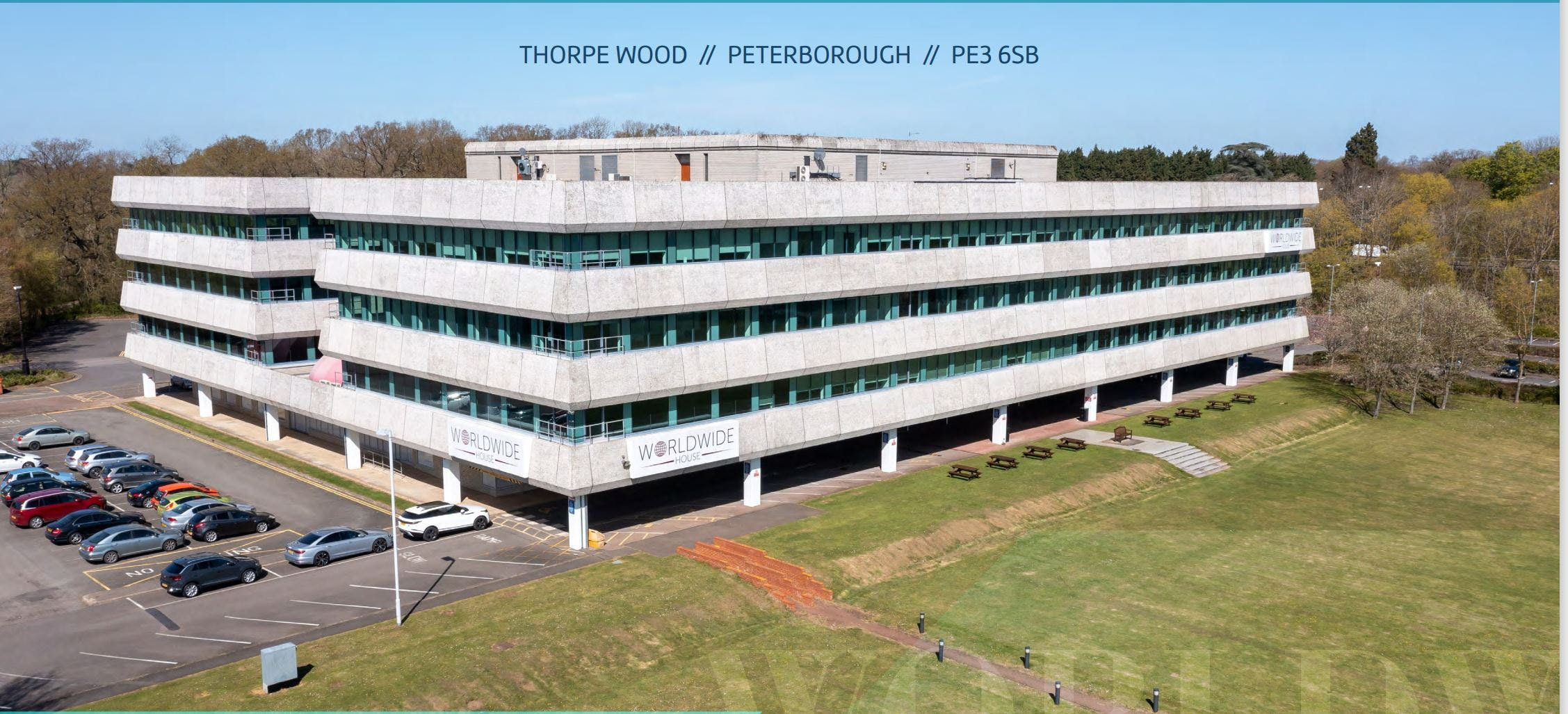 Worldwide House, Thorpe Wood, Peterborough, Office To Let - Drone footage of externals.JPG