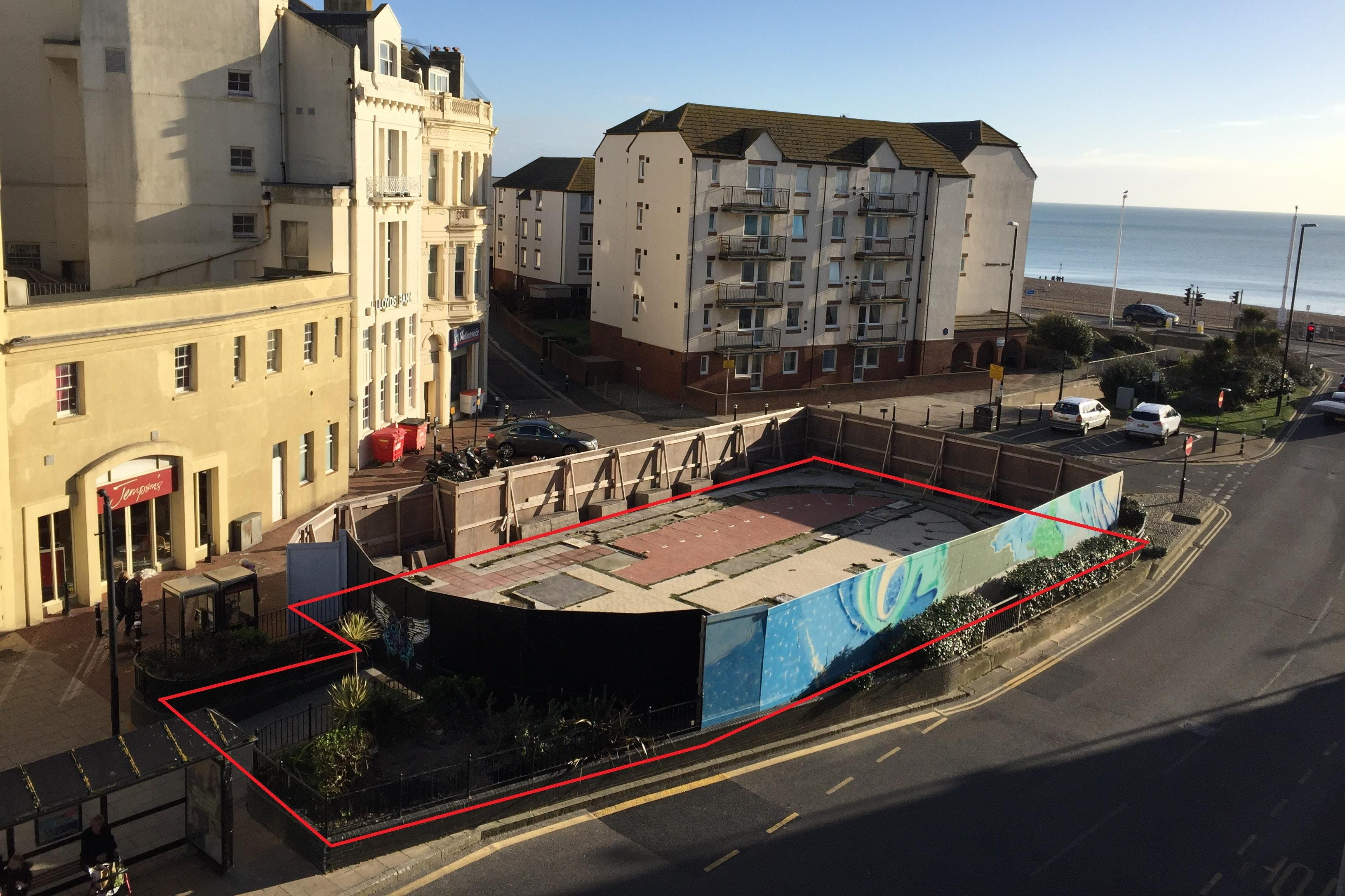 Site At Harold Place, Hastings, Retail / Leisure / Land To Let - Photo with outline.jpg