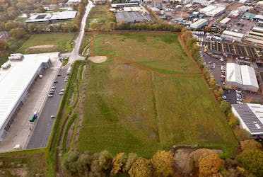 Plot C - Ferndown Ind Est, Vulcan Way, Wimborne, Industrial To Let / For Sale - Aerial Picture and red line.jpg - More details and enquiries about this property