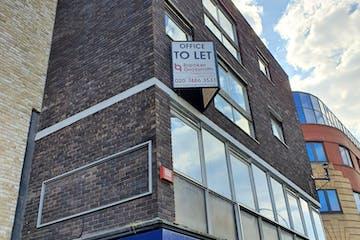 1st Floor Rear, 141-143 King Street, London, Office To Let - Hammersmith office block with BG Marketing Board close shot.jpg