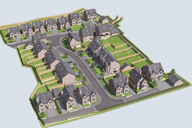Newchurch Meadows, Johnny Barn Farm, Rossendale, Residential For Sale - Newchurch Meadows Bird Eye view with Plot Numbers.jpg