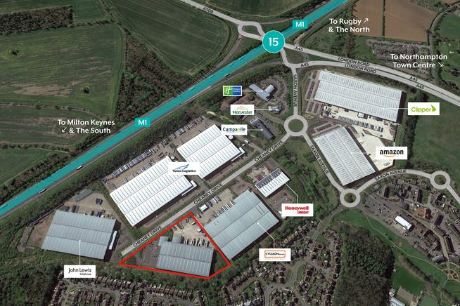 GP 86, Grange Park, Northampton, Distribution Warehouse To Let - red line aerial Grange Park.jpg