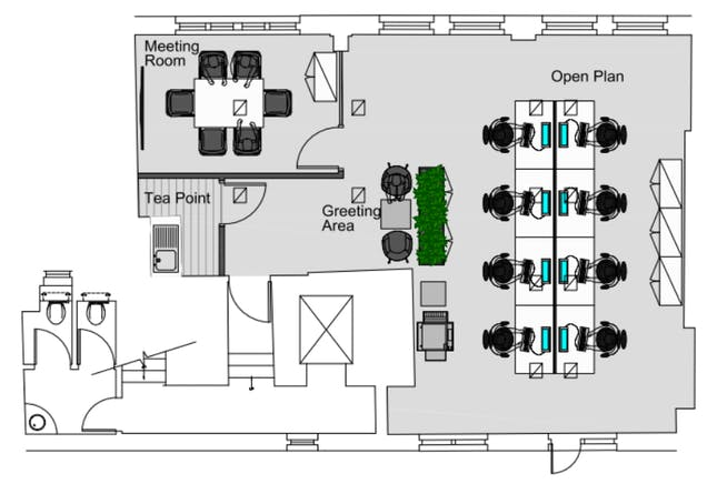 28 Austin Friars, London, Office To Let - 4th floor fitted plan.PNG