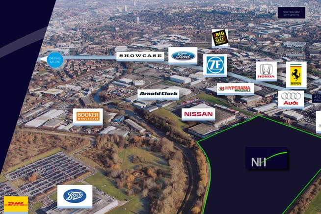 New Horizon, Thane Road, Nottingham, Distribution Warehouse To Let - Aerial of New Horizion and surrouding sites.PNG