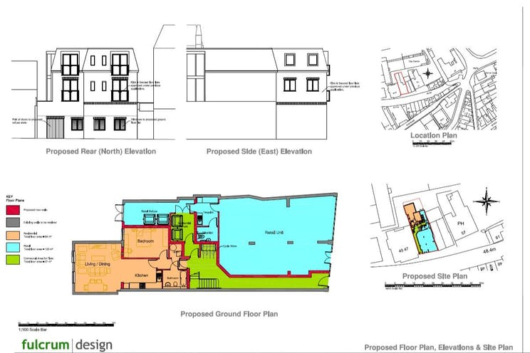 49-51 High Street, Leatherhead, Development (Land & Buildings) For Sale - Proposed floor GF plan + front elevation.jpg